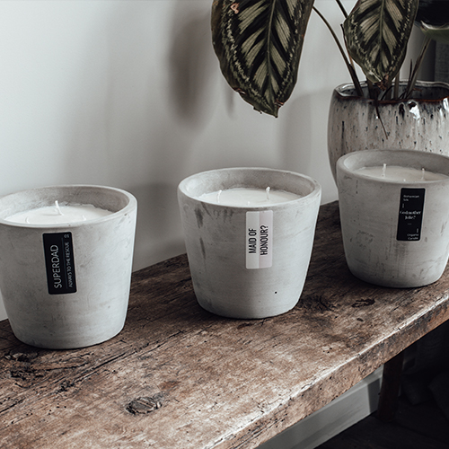 3 concrete personalized scented candles