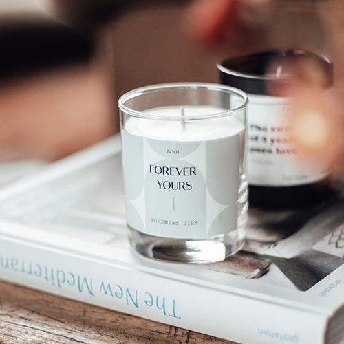 Personalized candle with text forever yours